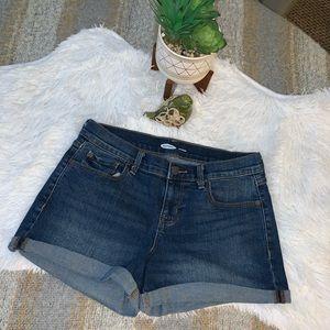 Old Navy Boyfriend 6 dark rolled cuff jean shorts